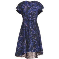 Ellery Heros paisley-jacquard dress ($1,032) ❤ liked on Polyvore featuring dresses, blue, blue dresses, jacquard dress, paisley dress, night out dresses and metallic cocktail dress