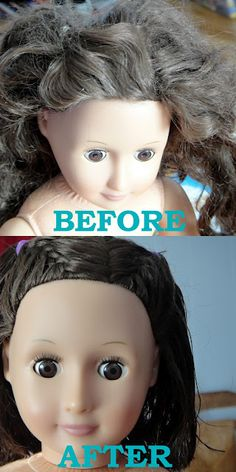 Get rid of CRAZY doll hair. Ok, so I tried a pin from http://cookieandclaire.blogspot.com/2011/11/rapunzel-rapunzel-let-down-yourgirl.html claiming to get rid of crazy doll hair. Approved.