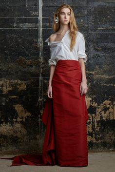 All white button-downs should be artfully crumpled and pulled down to expose one shoulder, don't you think? Thanks, Rosie Assoulin.   - MarieClaire.com