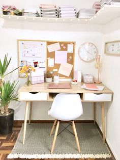 Tips para organizar tu escritorio (Parte II) – Shilla – The Study Room Decor, Cute Room Decor, Bedroom Decor, Home Office Design, Home Office Decor, Bedroom With Office, Work Desk Decor, Home Office Organization, Organization Ideas