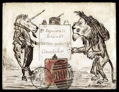 Hand Illustrated and Later Printed Envelopes: 1874 (Feb. 15th) pen and ink illustrated 'Lion & Unicorn' envelope sent from Windsor to Wotton-under-Edge with 1864–79 1d. plate 150 TA in crowned frame.
