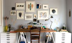 Studio - RiverLuna. This is my most desired studio - I could really work here and be inspired! features: big workspace, lots of drawers, gallery wall, white + wood