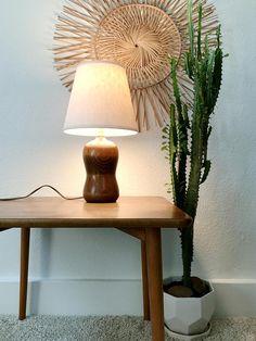 Vintage turned wood lamp / small curvy table lamp