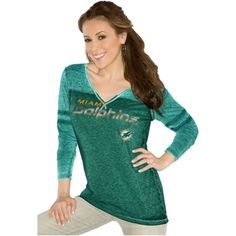 Touch by Alyssa Milano Miami Dolphins Ladies Gridiron Tri-Blend Long Sleeve V-Neck T-Shirt - Aqua