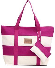 Women's Pink Stripe Casual Canvas Tote Handbag