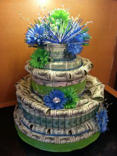$200 money cake I made for a co workers retirement. What do you think? Just got a request too do an even bigger money cake $500. I will keep u posted. This one is going to be HUGE.