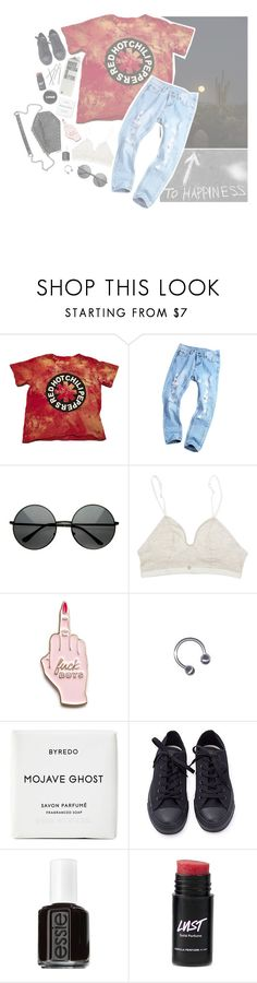 """""""California rest in peace"""" by xxidentity-disorderxx ❤ liked on Polyvore featuring Skinnydip, Byredo, Converse, Essie and Hot Topic"""