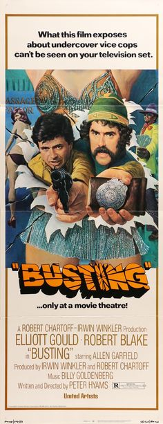 """Film: Busting (1974) Year poster printed: 1973 Country: USA Size: 14""""x 36"""" Artist: Mort Kunstler This is a vintage movie poster from 1973 for the Peter Hyams crime-comedy film Busting. The movie stars"""