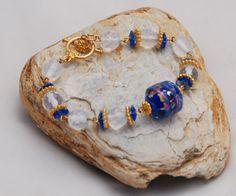 Blue Fire Glass Opal Bracelet by OnlyOneJewelryDesign on Etsy, $32.00