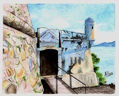 Fortaleza Santo Antonio Ratones. Ocean Atlantic. Watercolour