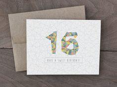 Handmade Birthday Card - Sweet 16 Birthday Card - Geometric pattern Birthday…