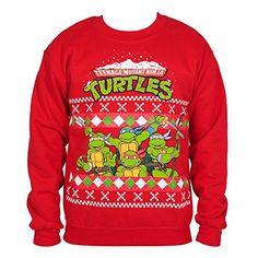 "TMNT Group Shot Sweatshirt: ""Add a dash of """"Cowabunga!"""" to your Christmas celebration with this TMNT… Red Sweaters, Ugly Sweater, Ugly Christmas Sweater, Cheap Online Shopping, Teenage Mutant Ninja, Band Tees, Red Christmas, Tmnt, Hoodies"
