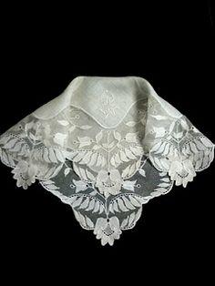 Ivory Color Irish Linen Lace Handkerchief with Classic Zundt Monogram