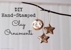diy hand stamped clay ornaments, crafts, seasonal holiday decor, DIY Hand Stamped Ornaments Easy to make and you can use them as gift tags too Clay Ornaments, Diy Christmas Ornaments, Handmade Christmas, Christmas Decorations, Christmas Clay, Homemade Ornaments, Santa Ornaments, Holiday Decorating, Christmas And New Year
