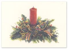 """Wintergreen Centerpiece Christmas Cards by Odd Balls (Set of 15). This fold over ecru card features a centerpiece with a red candle in the middle of holiday greens. """"Season's Greetings"""" is pre-printed in dark green ink on the inside of the card. Ecru envelopes are included. Colors in the design on the card include: red, yellow, lime green, green, brown and black. If purchasing unprinted product, please note card stock is compatible with most laser and ink jet printers. Unprinted product is…"""