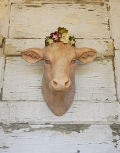 Cow head Wall Hanging Faux Taxidermy French by ColorfulCastAndCrew