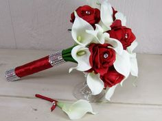 Roses with Crystal Centers  and White Calla Lily Bouquet