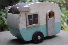 It's a mobile home for birds!! -- Birdhouse Trailer  Shasta Bird house  Blue/White by birdhouse20