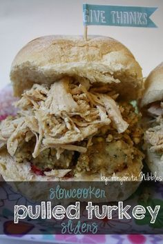 Turkey sliders made with slow-cooked turkey crown, stuffing and cranberry sauce. Slow Cooker Recipes, Crockpot Recipes, Cooking Recipes, Healthy Recipes, Crockpot Dishes, Slow Cooking, Crockpot Lamb, Free Recipes, Hot Turkey Sandwiches