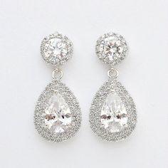 Bruids oorbellen Crystal bruiloft sieraden Cubic door poetryjewelry