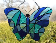Stained Glass Abstract Butterfly in Blues.