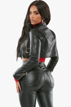 Cropped moto jacket featuring zip up details. Collared Long sleeves Cropped Zip up closure polyester Model wears size s Leggings Brilhantes, Shiny Leggings, Leather And Lace, Leather Jeans, Leder Outfits, Leather Dresses, Leather Skirts, Girls Jeans, Beautiful Black Women