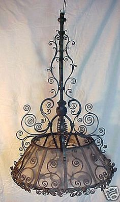 Early Primitive Orig Hand Forged Iron Gas Chandelier Vermont Estate Lamp Light