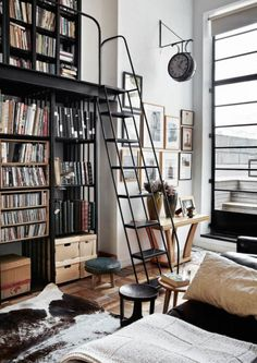 Neutrals- home library with ladder- closet- home decor- interior design