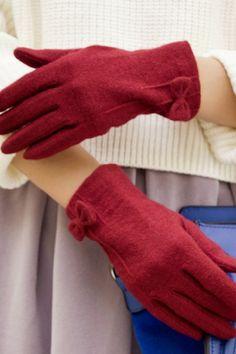 Bowknot Wool-blend Gloves OASAP.com