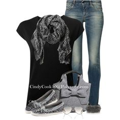 Just the jeans, scarf, and shirt. CALVIN KLEIN COLLECTION v-neck top