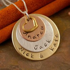 Hand Stamped Mommy Necklace -  Personalized Jewelry - Mixed Metal Family layered keepsake. $50.00, via Etsy.   Must try!  #ecrafty @ecrafty #stampedmetalblanks #jewelrysupplies  #stampedmetaljewelry #necklacesupplies #ballchainnecklaces #jumprings #metalstampingblanks