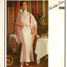 A Christian Dior Draped Standing Collar, Sleeveless Evening/Cocktail Dress and Stole Pattern, Vintage 1969