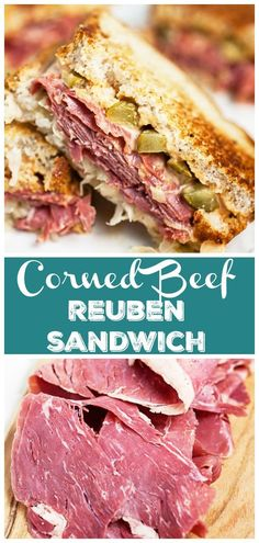 This Corned Beef Reuben Sandwich recipe is made with the best thousand island dressing, sauerkraut, and Swiss cheese. It's homemade and packed with flavor! Corned Beef Sandwich, Reuben Sandwich, Corned Beef Recipes, Meat Recipes, Cooking Recipes, Homemade Corned Beef, Best Sandwich, Burger Recipes, Sandwiches For Lunch
