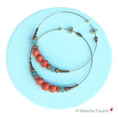 Ethnic earrings - Statement hoops - Bronze steel rings, coral and recycled glass beads.  © Natacha Fayard  #ethnic #boho #chic #earrings #jewelry #hoops #rings #bronze #aqua #orange #coral #recycled #glass #beads