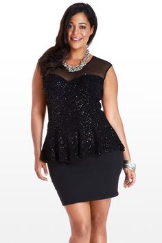 This stunning number adds instant glitz to your special occasion wardrobe. You'll love the black knit sequin bodice that sparkles right down to the peplum waist. Mesh yoke and sweetheart neckline are sultry while staying demure, while the stretch black skirt hits mid-thigh and adds jaw-dropping sex appeal. Adorned with a silver collar necklace, bangles, and classic heels, it's a little dress that packs a whole lotta punch.