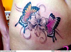 Butterflies Flower Tattoo