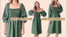 Summer Dress Patterns, Dress Sewing Patterns, Clothing Patterns, Sewing Summer Dresses, Diy Dress, Smock Dress, Diy Puffs, Diy Clothes Design, Couture Sewing
