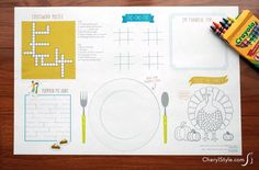 Make printable Thanksgiving placemats that are full of fun activities for the kids. They'll stay busy while you gain extra time to get dinner ready!