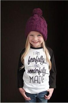 best Girl Raglans 2016 New Child Cotton Baseball T Shirts Cute Letter Print I m beautifully and wonderfully made Slogan T Shirt product