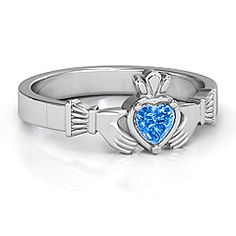 Heart Stone Claddagh Ring #jewlr My dads birthstone!! <3 it!!