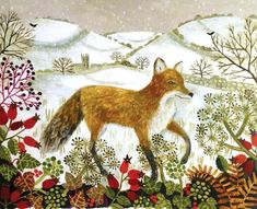 Canns Down Pack of 5 Charity Christmas Cards by Vanessa Bowman - Fox in the Snow Art Fox, Charity Christmas Cards, Fantastic Fox, Naive Art, Woodland Creatures, Children's Book Illustration, Sketches, Art Prints, Drawings
