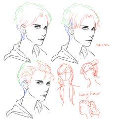light dark hair/ hairstyles ✤ || CHARACTER DESIGN REFERENCES | キャラクターデザイン…
