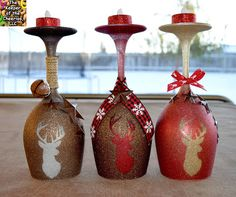 Rustic Deer Wine Glass Candle Holders - The Keeper of the Cheerios Christmas Wine Glasses, Diy Wine Glasses, Painted Wine Glasses, Wine Glass Crafts, Wine Craft, Wine Bottle Crafts, Wine Bottles, Wine Glass Candle Holder, Diy Candle Glass