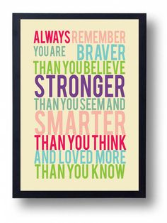 You Are Braver than You Believe- Winnie the Pooh quote-Movie Poster quote-Kids wall art- book quote art-Nursery Art on Etsy, $14.00
