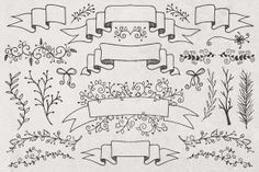 Hand Drawn Banners, Branches, Leaves