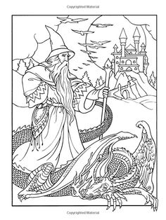 Wizard Coloring Pages for Adults | Wondrous Wizards (Dover Coloring Books): Marty Noble: 9780486456669 ...
