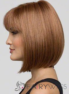Cheap Asian Cheap Human Hair Brown Short Wigs