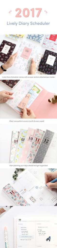 New 2017 dated planners are here! We're starting off planner season with the adorable 2017 Lively Diary Scheduler. This 14 month planner features unique patterns each month and week! The cover is protected with a transparent PVC cover for added durability. The removable cover creates 2 slim pockets and has an attached pen holder, too! Its grid and patterned note pages are great for memos and lists. With its simple & cute designs it's the perfect planner for school, home, and work. Check it…
