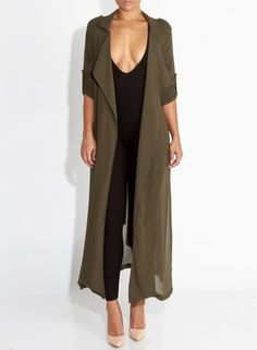 Women's Long Sleeve Solid Chiffon Trench Coat with Belt