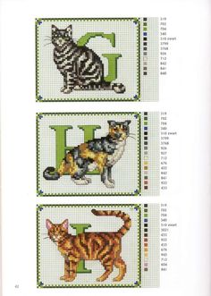 abc gatos G-I Cross Stitch Boards, Cross Stitch Letters, Beaded Cross Stitch, Cross Stitch Animals, Cross Stitch Embroidery, Cat Cross Stitches, Counted Cross Stitch Patterns, Cross Stitch Designs, Cross Stitching